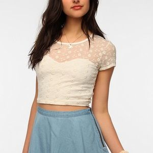 Pins and Needles Lace Crop Top